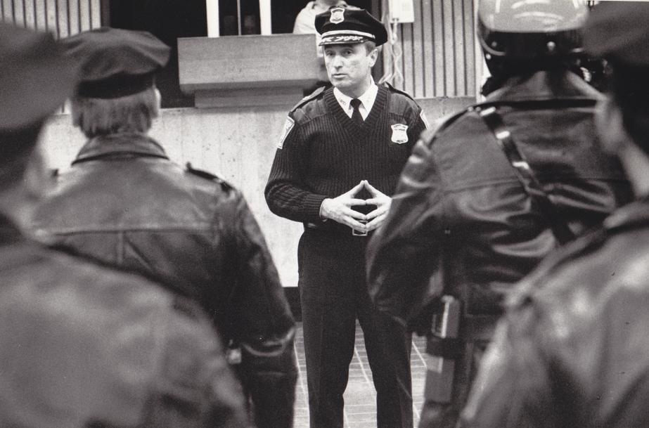 On his first day, in 1982, as Boston's police superintendent-in-chief, Bratton addresses a group of officers.